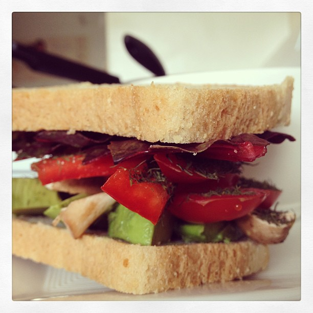 "#veggiesandwich #prettycolors #totallygonnafallapart"""