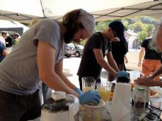 Shane making juice with Moby!